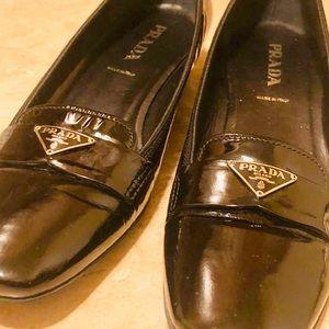 Prada Silver Logo Emblem Dress Shoes Loafers